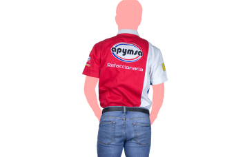 camisa apymsa rojo y blanco espalda