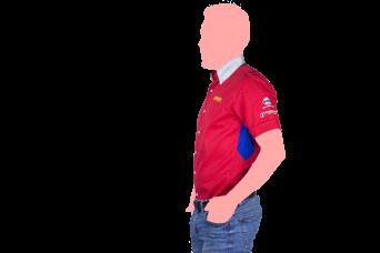 camisa apymsa rojo y blanco lateral
