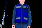 chaleco tipo reportero azul con reflejante acercamiento