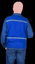 chaleco tipo reportero azul con reflejante cerrado espalda