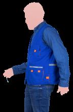 chaleco tipo reportero azul con reflejante cerrado lateral