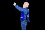 chaleco tipo reportero azul con reflejante lateral