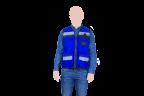 chaleco tipo reportero azul con reflejante